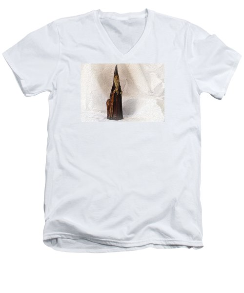 Men's V-Neck T-Shirt featuring the photograph St Nicholas With Fawn by Nadalyn Larsen