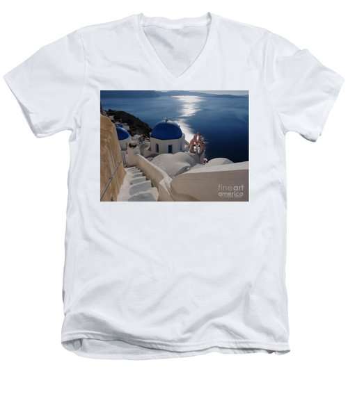 Stairway To The Blue Domed Church Men's V-Neck T-Shirt by Lucinda Walter
