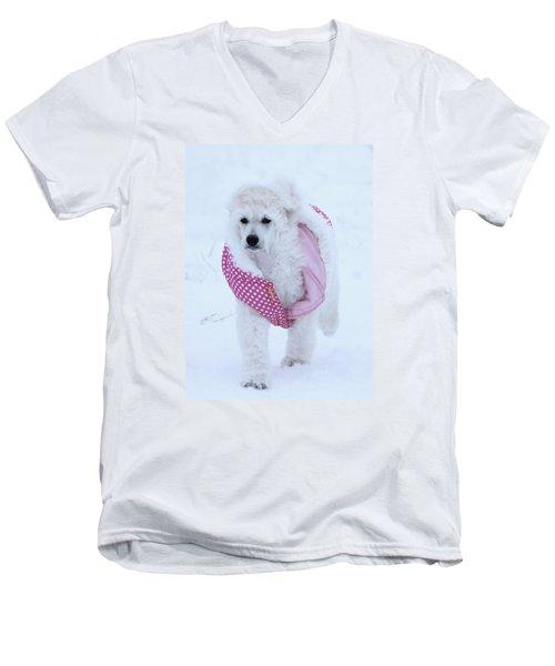 Standard Poodle In Winter Men's V-Neck T-Shirt