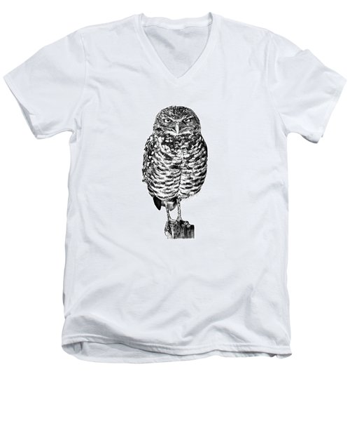 Men's V-Neck T-Shirt featuring the drawing 041 - Owl With Attitude by Abbey Noelle