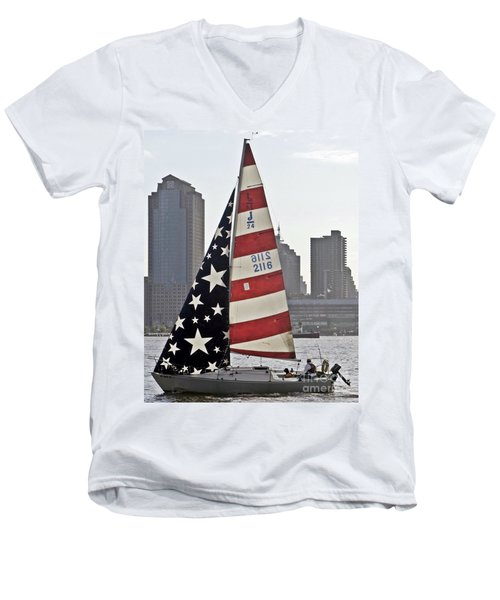 Men's V-Neck T-Shirt featuring the photograph Star Spangled Sail  by Lilliana Mendez