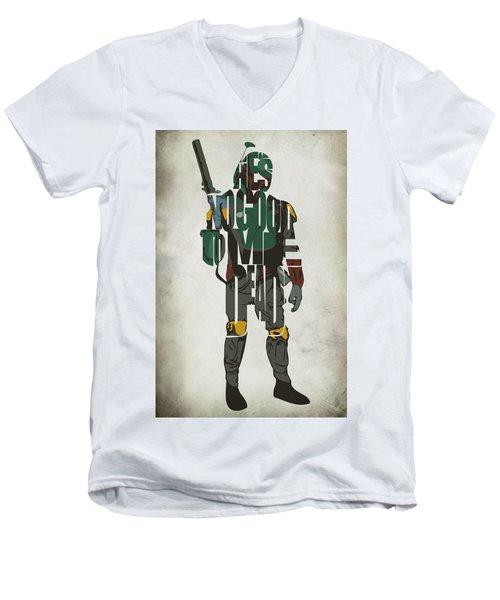 Star Wars Inspired Boba Fett Typography Artwork Men's V-Neck T-Shirt