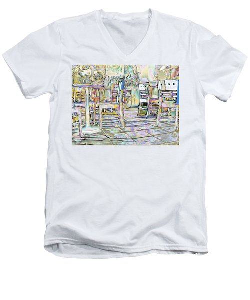 Men's V-Neck T-Shirt featuring the digital art Starbucks After Hours by Mark Greenberg