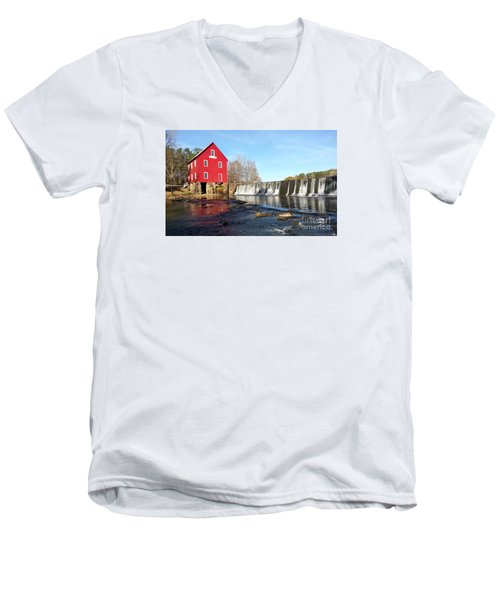 Men's V-Neck T-Shirt featuring the photograph Starr's Mill In Senioa Georgia 3 by Donna Brown