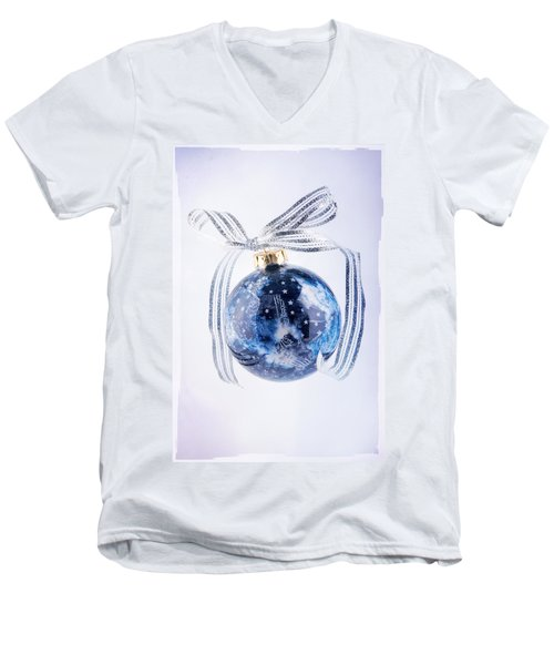 Christmas Ornament With Stars Men's V-Neck T-Shirt