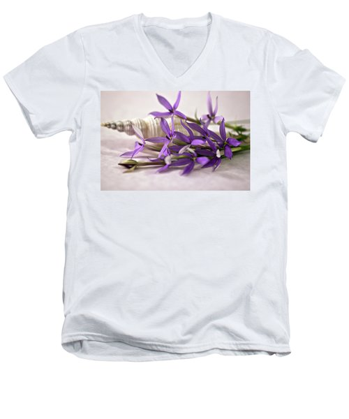 Starshine Laurentia Flowers And White Shell Men's V-Neck T-Shirt by Sandra Foster