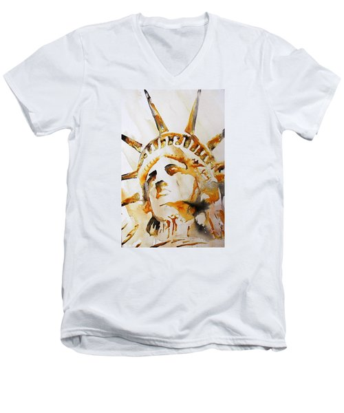 Statue Of Liberty Closeup Men's V-Neck T-Shirt by J- J- Espinoza