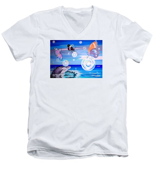 Stay And Play Men's V-Neck T-Shirt by Phyllis Kaltenbach
