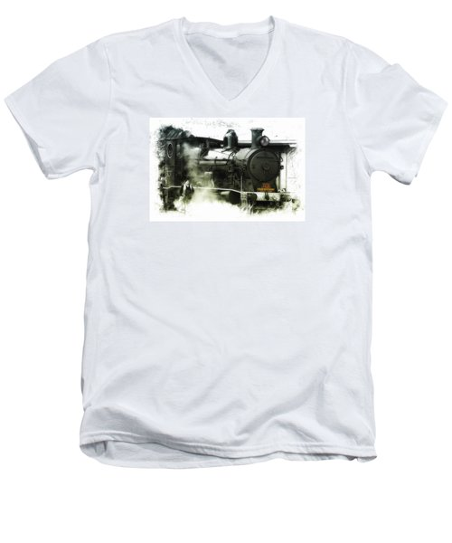 Men's V-Neck T-Shirt featuring the photograph Steam 01 by Kevin Chippindall