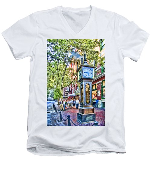 Steam Clock In Vancouver Gastown Men's V-Neck T-Shirt by David Smith