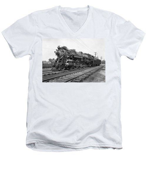 Steam Locomotive Crescent Limited C. 1927 Men's V-Neck T-Shirt by Daniel Hagerman