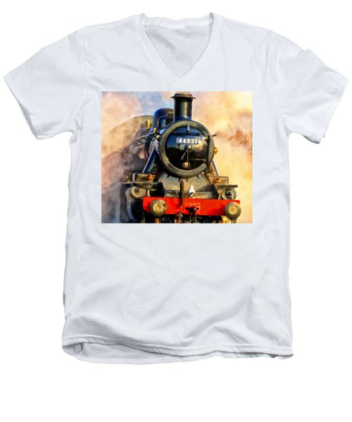 Steam Power Men's V-Neck T-Shirt by Michael Pickett