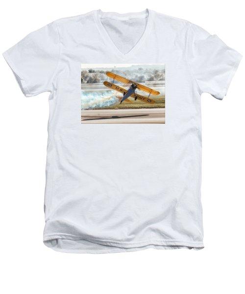 Stearman Model 75 Biplane Men's V-Neck T-Shirt by Alan Toepfer