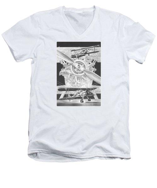 Men's V-Neck T-Shirt featuring the drawing Stearman - Vintage Biplane Aviation Art by Kelli Swan
