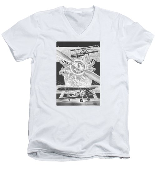 Stearman - Vintage Biplane Aviation Art Men's V-Neck T-Shirt