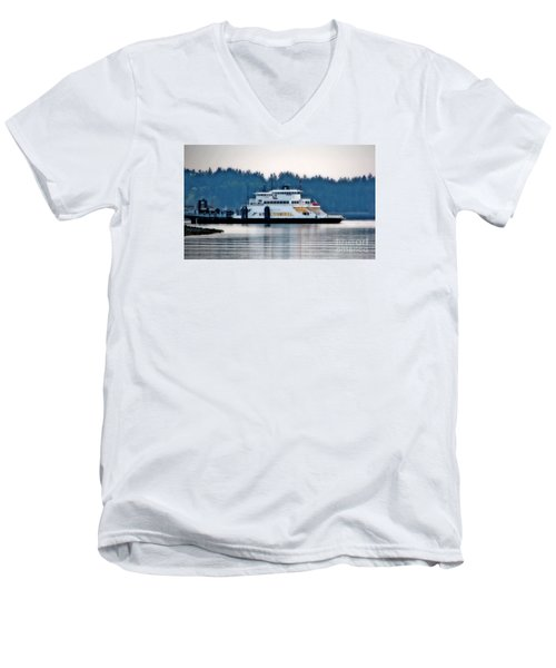 Steilacoom Ferry At Dusk Men's V-Neck T-Shirt by Chris Anderson