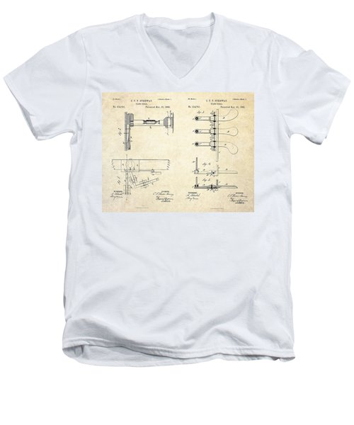 1885 Steinway Piano Pedal Patent Art Men's V-Neck T-Shirt by Gary Bodnar