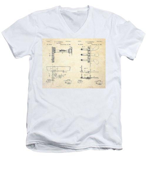 1885 Steinway Piano Pedal Patent Art Men's V-Neck T-Shirt