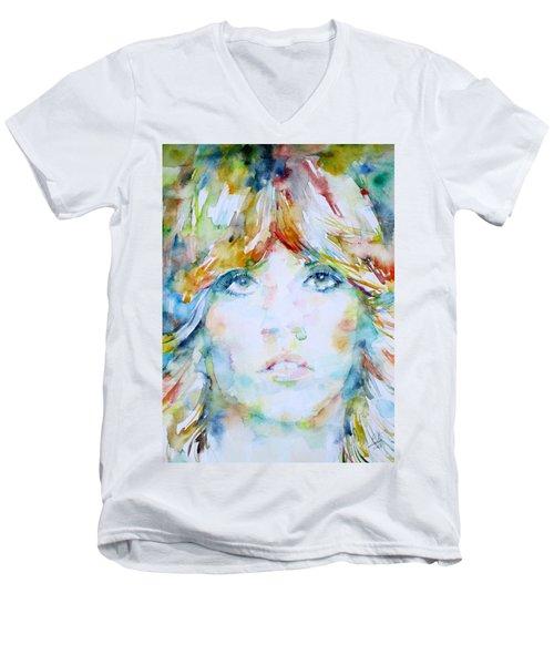 Stevie Nicks - Watercolor Portrait Men's V-Neck T-Shirt by Fabrizio Cassetta