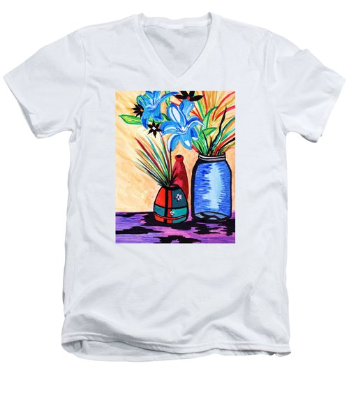 Still Life Flowers Men's V-Neck T-Shirt by Connie Valasco