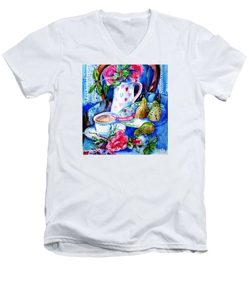 Still Life With Roses  Men's V-Neck T-Shirt by Trudi Doyle