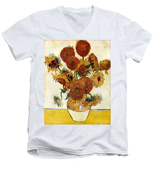 Still Life With Sunflowers Men's V-Neck T-Shirt