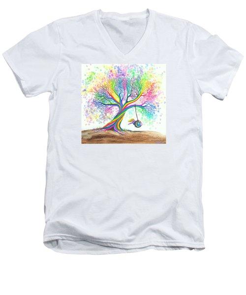 Still More Rainbow Tree Dreams Men's V-Neck T-Shirt by Nick Gustafson