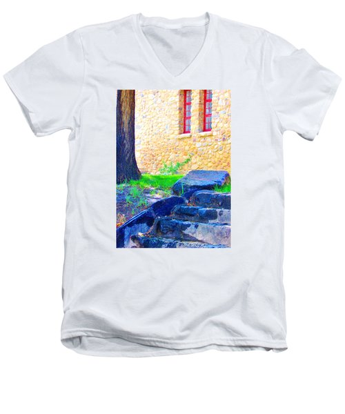 Men's V-Neck T-Shirt featuring the photograph Stone Steps by Marilyn Diaz