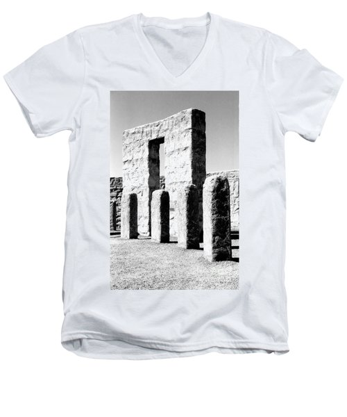 Men's V-Neck T-Shirt featuring the photograph Stonehenge Replica by Chalet Roome-Rigdon