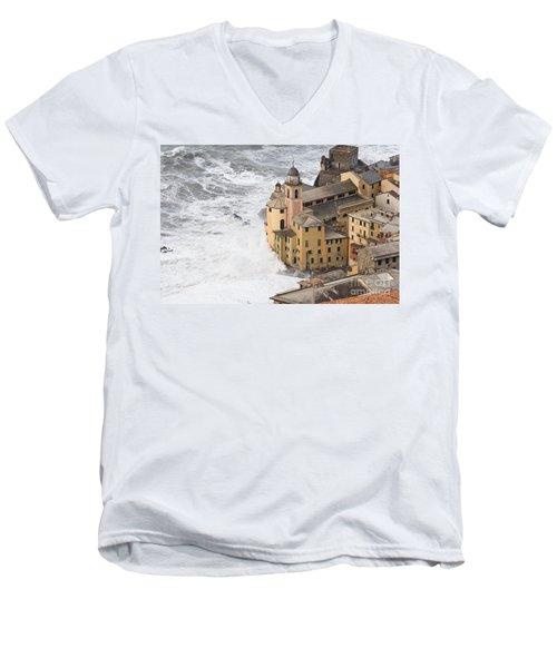 Storm In Camogli Men's V-Neck T-Shirt by Antonio Scarpi