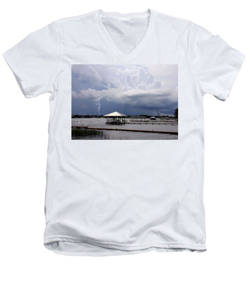 Men's V-Neck T-Shirt featuring the photograph Storm Over Clay Lake by Rosalie Scanlon