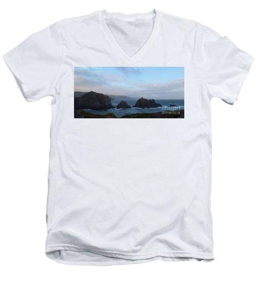 Hartland Quay Storm Men's V-Neck T-Shirt by Richard Brookes
