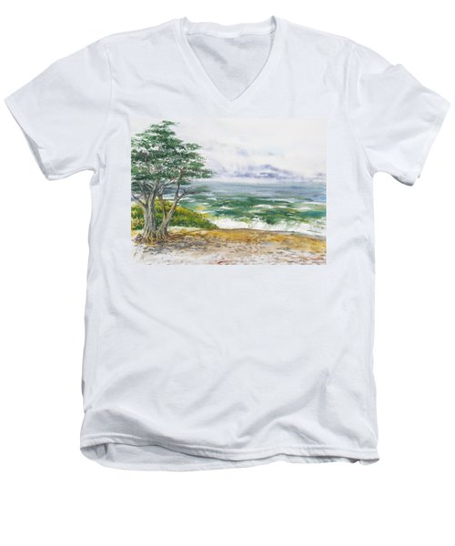 Stormy Morning At Carmel By The Sea California Men's V-Neck T-Shirt
