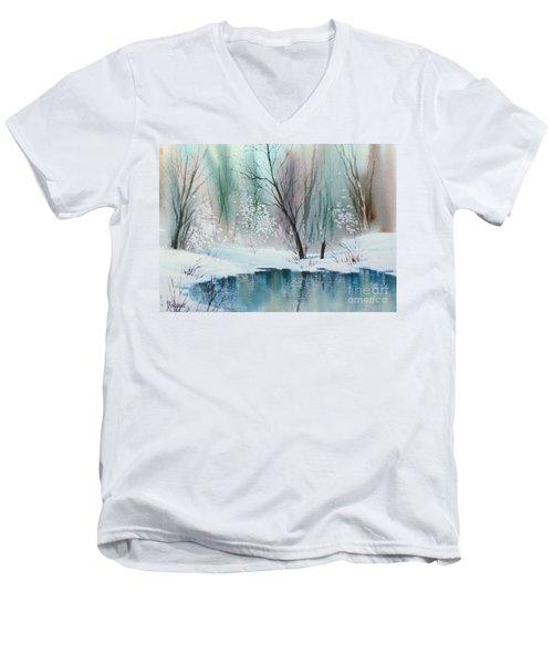 Stream Cove In Winter Men's V-Neck T-Shirt