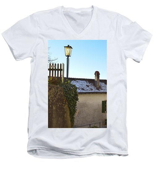 Men's V-Neck T-Shirt featuring the photograph Street Lamp At The Castle  by Felicia Tica