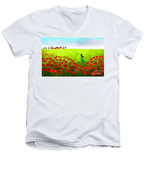 Strolling Among The Red Poppies Men's V-Neck T-Shirt