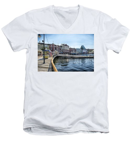 Strolling On The Boardwalk At Disney World Men's V-Neck T-Shirt by Thomas Woolworth