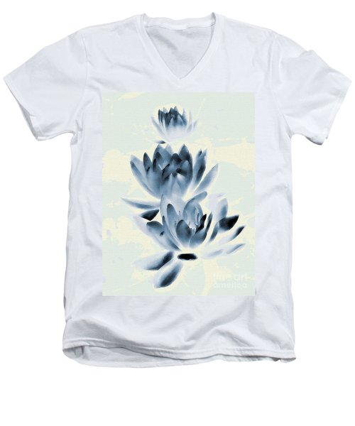 Study In Blue Men's V-Neck T-Shirt by Andrea Kollo