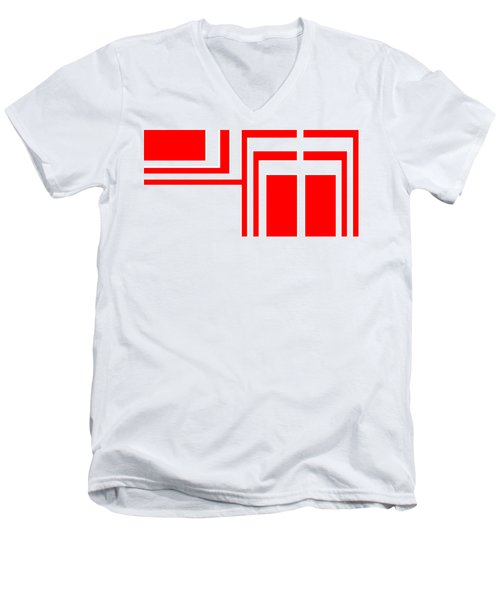 Men's V-Neck T-Shirt featuring the digital art Study In White And Red by Cletis Stump