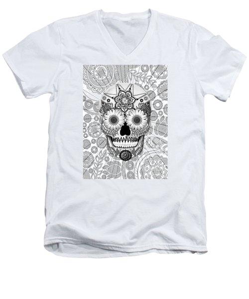 Sugar Skull Bleached Bones - Copyrighted Men's V-Neck T-Shirt by Christopher Beikmann