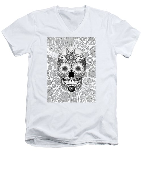 Sugar Skull Bleached Bones - Copyrighted Men's V-Neck T-Shirt