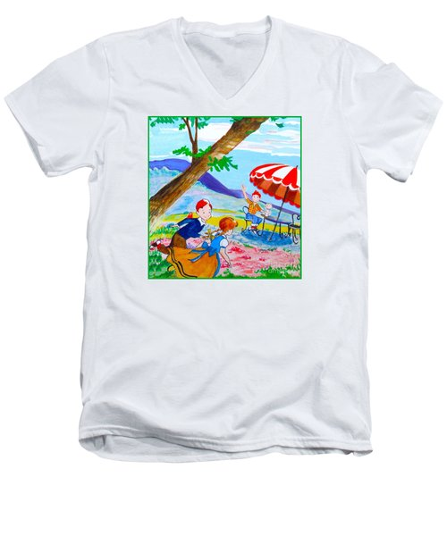 Men's V-Neck T-Shirt featuring the painting Sugarland Vintage by Beth Saffer
