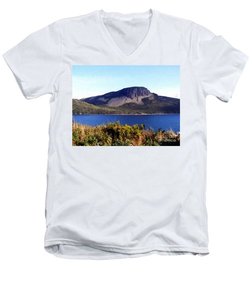 Men's V-Neck T-Shirt featuring the painting Sugarloaf Hill In Summer by Barbara Griffin