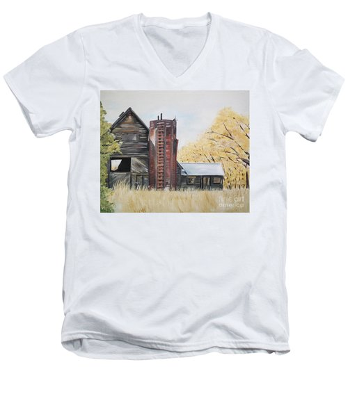 Men's V-Neck T-Shirt featuring the painting Golden Aged Barn -washington - Red Silo  by Jan Dappen