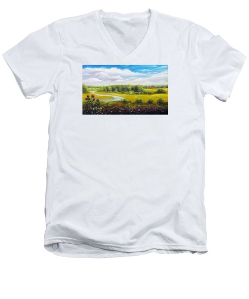 Men's V-Neck T-Shirt featuring the painting Summer Day by Vesna Martinjak