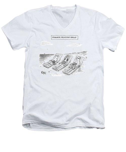 Summer Reading Group -- Three Beach Goers Lounge Men's V-Neck T-Shirt