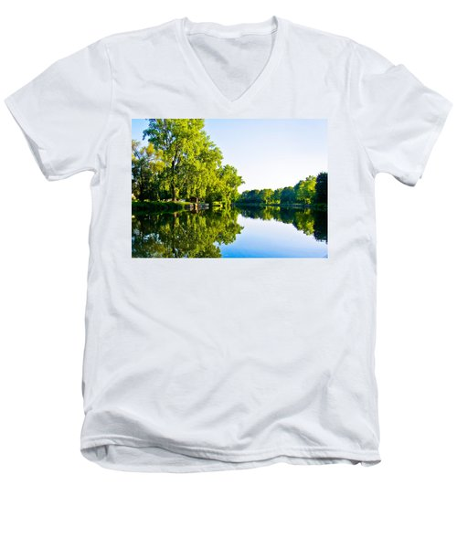 Men's V-Neck T-Shirt featuring the photograph Summer Reflections by Sara Frank