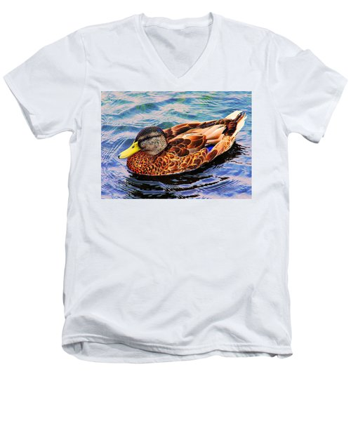 Men's V-Neck T-Shirt featuring the photograph Summer Swim by Denyse Duhaime