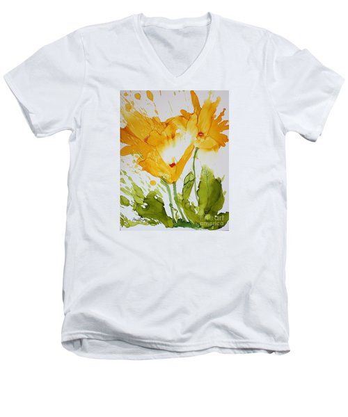 Sun Splashed Poppies Men's V-Neck T-Shirt