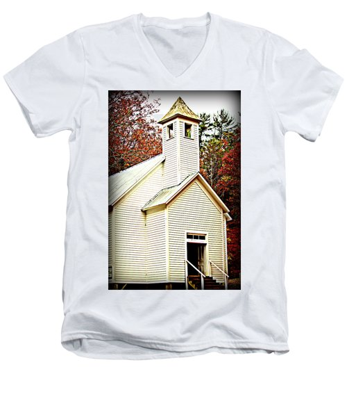 Men's V-Neck T-Shirt featuring the photograph Sunday School by Faith Williams
